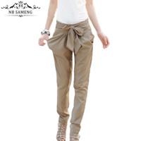 Wholesale Plus Sized Bow Leggings - Wholesale- New Women Fitness Push Up Leggings OL casual Bow harem Pencil Pants Elastic Waist Punk Legging High Waist Clothes Plus Size