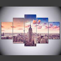 malerei stadt gerahmt großhandel-5 Panel Gerahmte HD Gedruckt New York City Sonnenuntergang Große Poster Leinwand Ölgemälde Wandbilder Für Wohnzimmer