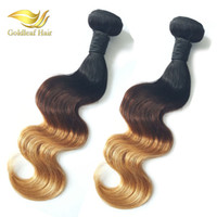 Wholesale Wholesale Colored Weave Hair - 1B 4 27 Blonde Human Hair Weaves Body Wave Wavy Virgin Malaysina Peruvian Brazilain 3 Bundles Three Tone Colored Ombre Hair Wefts Extensions