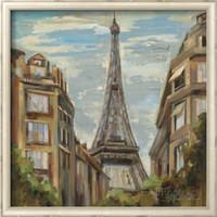 pintura a óleo lona paris venda por atacado-Arte Silvia Vassileva Pinturas Modernas Um Momento em Paris reprodução do óleo da lona de Alta qualidade Pintados À Mão