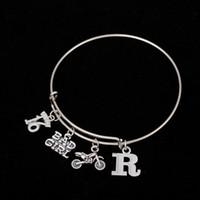 Wholesale Sterling Silver Letter R Charm - Myshape Cool Fashion Stainless Steel DIY Charms Bracelet Letter R Sweet 16 BADGIR Motorbike Pendant Bangle Wristbands