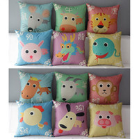 Wholesale pillows blue chinese print resale online - 45cm twelve chinese zodiac signs Cotton Linen Fabric Throw Pillow inch Handmade New Home Office Bedroom Decoration Sofa Back Cushion