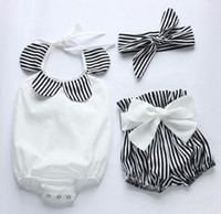 Wholesale 3pcs set New summer infant baby girls boutique romper shorts headband clothing set black white strips cotton romper diaper bodysuit