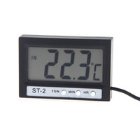 Wholesale Mini Clock Temperature - Mini LCD Indoor Outdoor Digital Celsius Thermometer Temperature Meter Indoor Outdoor Clock with Probe ST-2 Free shipping