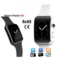 Wholesale Sale Phone Watches - 2017 Hot Sale hd Bluetooth Smart Watch X6 Smartwatch the Smartwatches For Android Phone With Camera Support SIM Card Wholesale 1pc lot