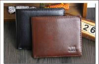 kahverengi antika cüzdanlar toptan satış-Moda Yeni Vintage PU Erkek Cüzdan Ince Bifold Kahverengi Siyah PU Deri Kredi Kartı erkekler için Serin tri kat Cüzdan Toptan ucuz satış