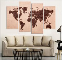 Free Shipping Art Deco Wall Pictures 4 Panel Canvas Art Chinese Painting Coffee Map Art Home Decor Modern Pictures