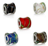 Wholesale Lampwork Beads Free Shipping - Free Shipping! European Charm Lampwork Glass Beads Drum Mixed Glitter Ripple clear About 15x14mm jewelry making DIY