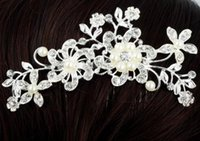 Wholesale Clip Fine - Wholesale Fashion Bridal Wedding Tiaras Stunning Fine Comb Bridal Jewelry Accessories Crystal Pearl Hair Brush Free Shipping