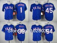 Wholesale New Holland Stopping - 2017 New NEW Texas Rangers Jersey #1 Elvis Andrus #45 Derek Holland #30 Neftali Feliz #54 Matt Harrison Jersey Blue Baseball Jersey,MIX
