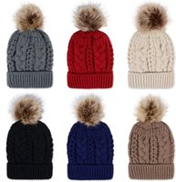 Frauen Strick Wolle Hüte mit Pelz Pompons Winter Samt Hut Häkeln Outdoor Warm Beanies Cap Skullies Caps Warm Hut Hot KKA2773