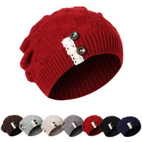 Wholesale wool lace yarn - Korean version of the button knit hat creative style lace fashion trendy wool hat ladies autumn and winter wool hat