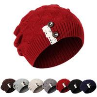 beanie hut koreanischen stil großhandel-Koreanische Version des modischen Wollhut-Damenherbst- und -winterwollhutes des Knopfknit Hutes der kreativen Artspitzenart und weise