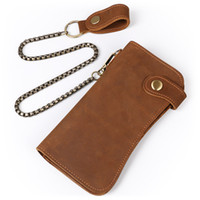 Wholesale Genuine Leather Handmade Coin Purse - 2017 New wallet High quality retro style handmade Metal chain wallets cow genuine Crazy horse leather men male long purse