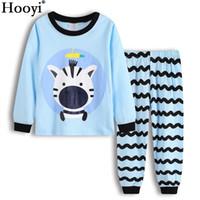 ropa de cebra para niño de niños al por mayor-Zebra Baby Boys Trajes de ropa para niños Pijamas largos 100% algodón Ropa de dormir para niños Conjunto de ropa Zebra Soft T-Shirts Pants camisón