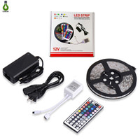 tiras de iluminación led 12v al por mayor-5050 LED Strip Light RGB Flexible impermeable 5m 44Key IR Remote Controller y fuente de alimentación de 12V 5A, todo en un juego