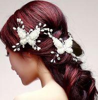 Wholesale diamonds hair comb - Wholesale New Arrival Fashion Luxury Good Quality Headdress Jewelry Hair Crown Pearl Comb Diamond Crystal Bride Wedding Tiaras