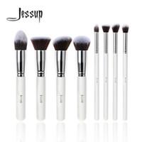 Wholesale professional liquid foundation set for sale - Group buy Jessup Brand Professional White Silver Foundation Blush Liquid Kabuki Brush Makeup Brushes Tools Set Beauty Cosmetics Kit