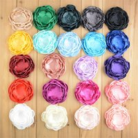 Wholesale Diy Craft Barrettes - 50 pcs 4 inch Fabric Handmade Flowers Satin Layered Flowers For Hair Accessories DIY Crafting Without Clips Falt Back Photography props B135