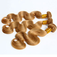 Wholesale Strawberry Blonde Hair Color Extensions - Fashion Color #27 Strawberry Honey Blonde Brazilian Peruvian Malaysian Indian Body Wave Virgin Remy Human Hair Weaves Extensions Bundles