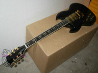 Wholesale Electric Guitar Left Gold - Black 3 Pickups Left Handed Electric Guitar Gold Hardware New Arrival free shipping