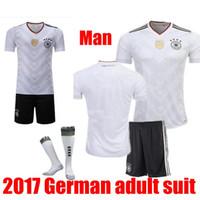Wholesale Germany Black Jerseys - NEW 2017 2018 Deutschlan Home Uniform Jersey Germany Soccer Jerseys Sets SCHWEINSTEIGER OZIL Gotze Muller Kroos HUMMELS Football Kits and So