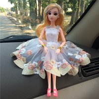 Wholesale Cotton Skirt Clothing - Manual barbie doll clothes white gauze skirt with machine embroider dress doll