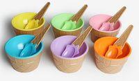детские чашки для мороженого оптовых-Дети мороженое чаши мороженое Кубок пары чаша подарки десерт контейнер держатель с ложкой Лучший детский подарок