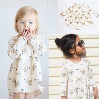 Wholesale Animal Litter - Autumn Ins Girls Long Sleeve Dress Cartoon Fox Cotton Dresses Litter Girl Clothing Casual Cloth Milk Color