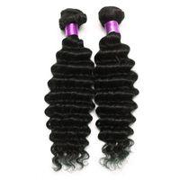 Wholesale deep wave brazillian - Brazilian Peruvian Malaysian Indian Deep Wave Virgin Hair Natural Black 6A Brazilian Deep Wave Virgin Hair Extensions Brazillian Hair Wefts