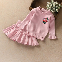 Wholesale Girl Sweater Star - Children Clothing Kids Knitting Suit Girl Flower Sweater+Skirt 2pcs Star Girl Spring Autumn Clothes Suit 5 s l