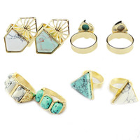 Wholesale Turquoise Stone White Gold Ring - Brand White Green Turquoise Stone Rings,18K Gold Plated Natural Stone Finger Rings For Women XX711