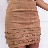 Wholesale Pencil Skirt Retro - 2016100927 Retro tassel suede leather pencil skirt Autumn high waist slim mini women skirt Casual winter 2016 bodycon short skirts