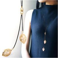 Wholesale new fashion bijoux online - Classic Leaf Tassel Long Necklace Women Bijoux New Fashion Jewelry Black Chain Necklaces Pendants