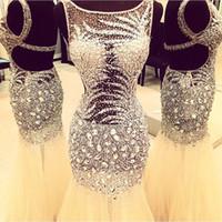 rhinestone bling vestidos de fiesta al por mayor-2018 Bling Sexy Jewel Neck Wear Vestidos de noche Rhinestone Crystal Major Beading Mermaid Sheer Dress Formal espalda abierta Party Prom Vestidos