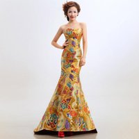 Wholesale Sexy Satin Cheongsam Long - Gold color US2-US10 Custom made New fashion chinese cheongsam off shoulder sexy truppet satin with embroidery long evening dress