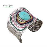 Wholesale Bohemia Vintage Bracelet - Wholesale-2016 women antique ethnic boho arm cuff tribal marble torquoise pulseiras bohemia carter love bracelet&bangles vintage silver