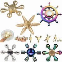 Wholesale ceramic games - Hot colorful Fidget spinner Rainbow Hand Brass Ceramic Hybrid Bearing EDC Desk Toy Game for Autism and ADHD Focus Anxiety Relief Stress Toys