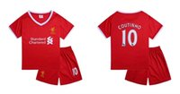 Wholesale Cheap Soccer Uniforms Kits - 17-18 Cheap Kids Liverpo ol Home Soccer Jersey Uniforms Coutinho 10 Children Red Complete Shirt+short Child Football Jersey KITS