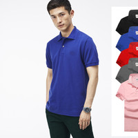 Wholesale Blue Brand Shirts - Hot luxury New Brand crocodile embroidery Polo Shirt Men Short Sleeve Casual Shirts Man's Solid Polo t shirt Plus Camisa Polo