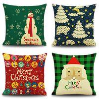 Wholesale Xmas Wreaths Wholesale - Wholesale- Snowman Elk Tree Wreath Christmas Pillow Case Xmas Home use Linen Cushion case
