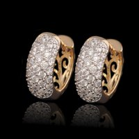 Wholesale Nickel Plating Brass - (300E)Fashion AAA+ Zircon Hoop Earrings (18K) women for Lead and Nickel Free