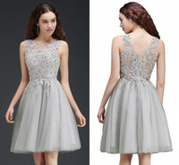 Wholesale Sliver Dress Cocktail - Stock Sliver Short A Line Homecoming Party Dresses Sheer Jewel Neck Mini Homecoming Dresses with Lace Appliques Cocktail Dresses CPS669