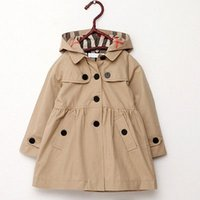 Wholesale Trench Outerwear - Wholesale- Girl's Wind Jacket with Removable Hooded Baby Girls Trench Coat Kids Winter Warm Jacket Windbreaker Outerwear 2-7Y Girls