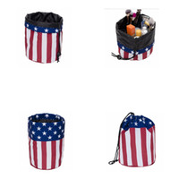 Wholesale America National - Barrel Shape Travel Cosmetic Storage Bags Washable Toiletry Makeup Organiser Printing America National Flag Makeup Bag KKA2505