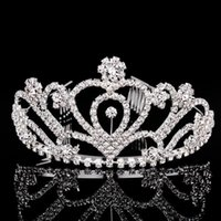 Wholesale Vintage Heart Wedding Crown - Bride Tiaras And Crowns With Crystal Rhinestone Princess Hairdress Hairwear Hair Accessories For Wedding Vintage Headband