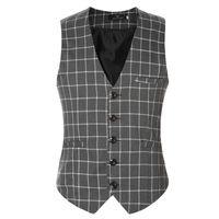 Wholesale New Korean Down Jacket - New Korean Casual Slim Suits Blazer Vest Mens Waistcoats Plaid Cotton Design Sleeveless Warm Jacket Vests chaleco hombre 6XL
