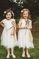 Wholesale Cutest Lace Wedding Dress - cutest Lace Tulle Flower Girls Dresses Portrait A-Line Tea-length Zipper Weddings Communion Vintage Princess Gowns Lovely