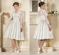 Wholesale Sexy Short Long Dressed - New Arrival Vintage A-Line Wedding Dresses Short Beach Bridal Gown with Long Sleeve Sexy V-Neck Knee-Length Plus size Wedding Gowns