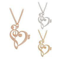 ingrosso collana del pendente della nota di musica dell'oro-Collana semplice di moda Collana a forma di cuore vuota a forma di cuore per le donne Collana con pendente Collana di gioielli Gioielli in oro argento Regalo speciale